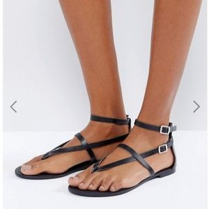 ASOS FORCEFUL Leather Flat Sandals Black